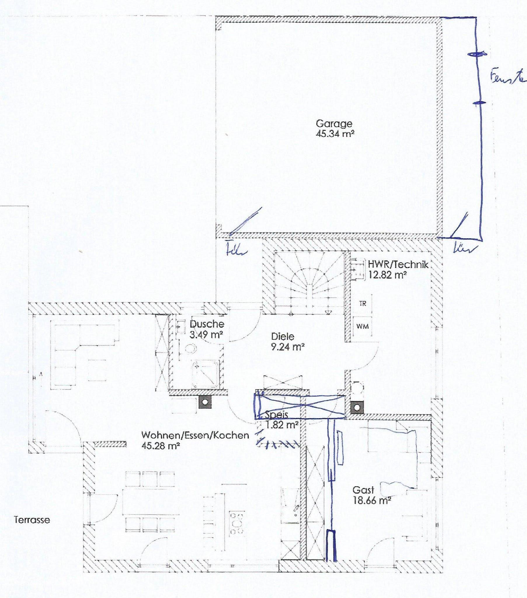 Überarbeitung Grundriss: Garage