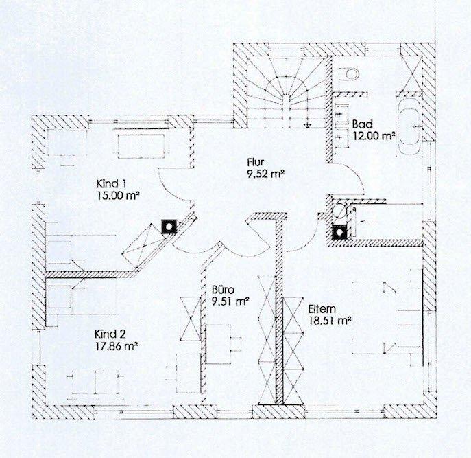 Erster Entwurf des Obergeschosses von Ecobau Allgäu