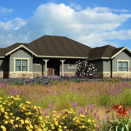 Ein eingeschossiges Landhaus inmitten einer blühenden Landschaft.
