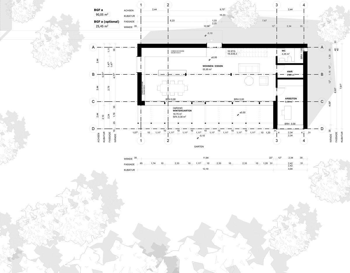 Grundriss offener Wohn- und Essbereich