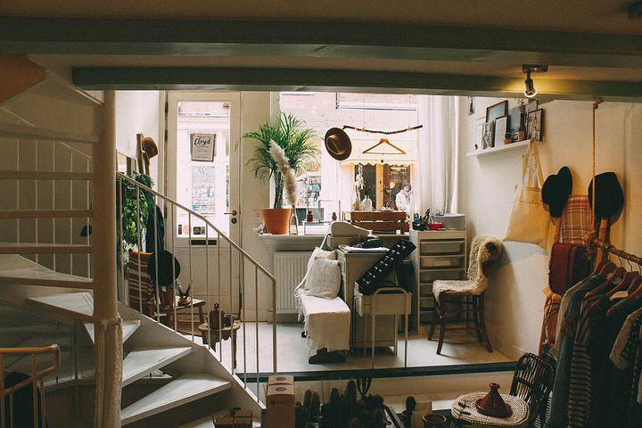 Spindeltreppe im Wohnzimmer